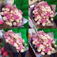 Букет 25 пионовидных роз с крафтом R560