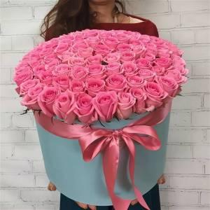 Коробка 101 розовая роза с оформлением R2104