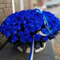 Корзина 101 синяя роза с оформлением R1988