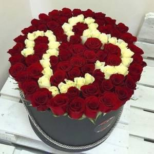 Коробка 101 красная роза с цифрами R845