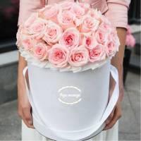 35 розовых нежных роз в коробке R569
