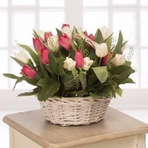 Корзина 19 разноцветных тюльпанов R987